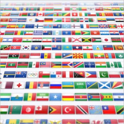 商用利用も再配布も限界無しのフリー全250種類2500個世界各国の国旗