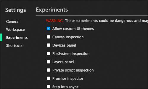 「Experiments」タブのキャプチャ