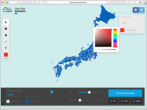 地図が簡単に楽しく作成できる!世界地図をはじめ、日本を含めた