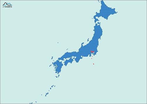 ピクセルで作成された日本地図