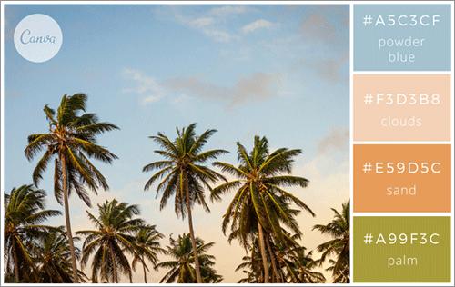 旅先の写真にインスパイアされた色の組み合わせ