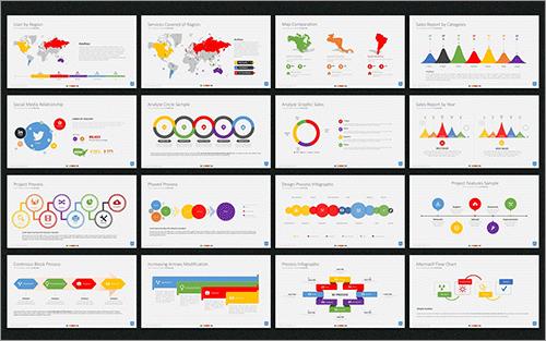 100種類のシンプルで洗練されたスライドやインフォグラフィックが無料で