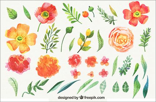かわいい手描き素材が全部無料花や葉や草が水彩タッチで描かれた