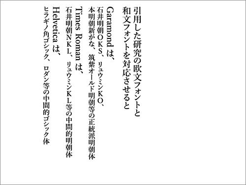 本題の前に 欧文フォントと和文フォントを対応させると