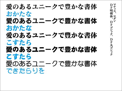 マティス・ロダン・DF明朝体・DFゴシック・DF丸ゴシック