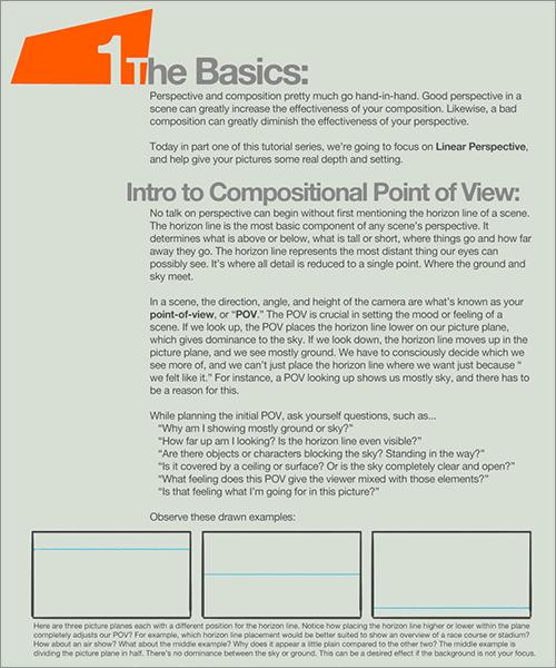 遠近法と構図: 水平ラインの役割