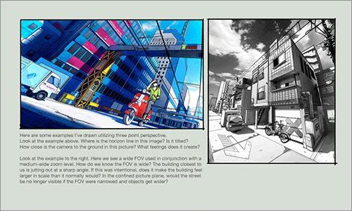 遠近法と構図: 3点透視図法の使い方