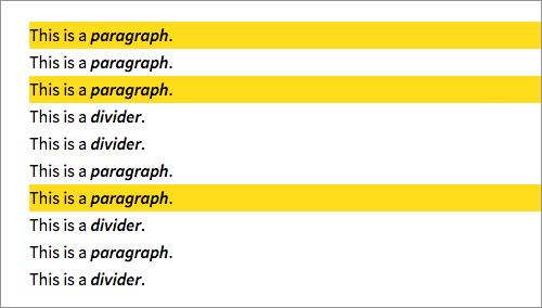 奇数のパラグラフをハイライト