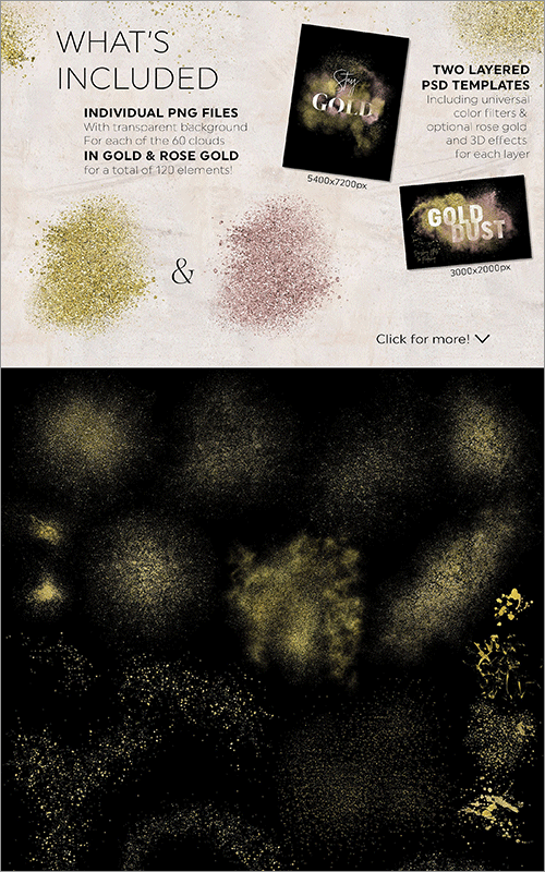 ゴールドのエフェクト素材