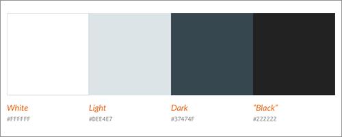 よく使用される明るいカラーと暗いカラー