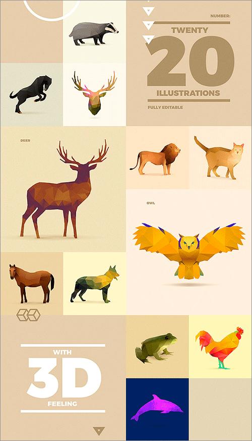 ポリゴンの多角形でデザインされた動物鳥魚昆虫恐竜などの