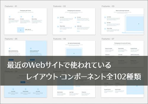 最近のWebサイトで使われているレイアウト・コンポーネント全102種類が揃ったデザイン素材 -Frames