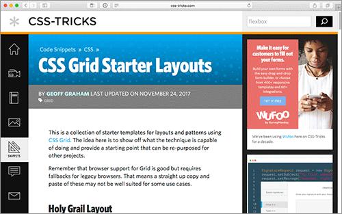 css gridで webページでよく使うレイアウトを実装したシンプルなhtml