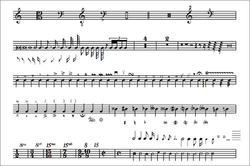 譜面や音楽系デザインに音符などの演奏記号がすべて揃った