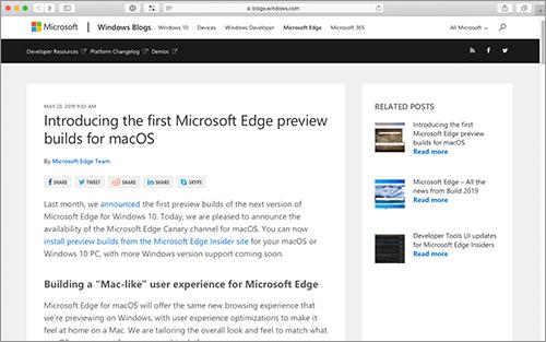 速報】Chromiumを採用した、mac OS版のMicrosoft Edge