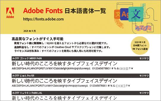 「Adobe Fonts日本語書体一覧」のPDF
