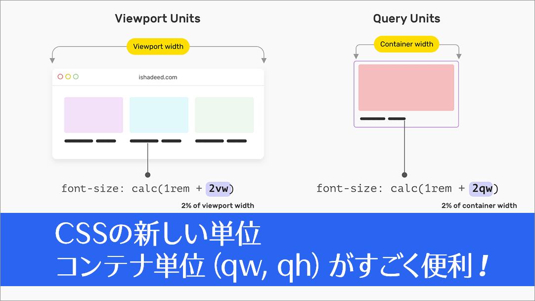 CSSの新しい単位がすごく便利!コンテナベースの相対単位「コンテナ単位(qw, qh)」の基礎知識と使い方