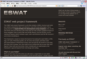 ESWAT Web Project Frameworkのキャプチャ