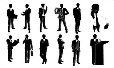 ビジネスマンのシルエットのフリーのベクター素材 | コリス