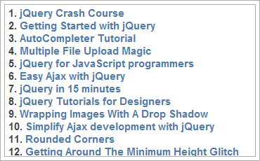20 Amazing jQuery Plugins and 65 Excellent jQuery Resourcesのキャプチャ