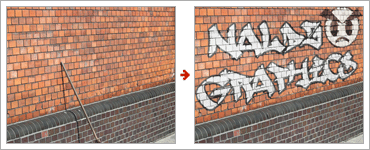 Create a Realistic Graffiti Text and Image on a Nice Clean Wallのレタッチ前と後