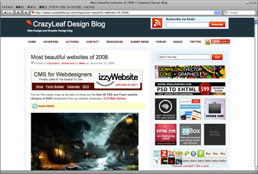 Most beautiful websites of 2008のキャプチャ