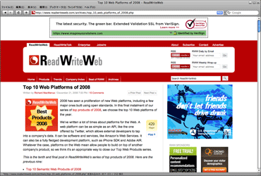 Top 10 Web Platforms of 2008のキャプチャ