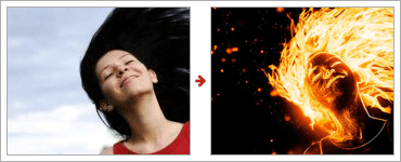 How to Create a Flaming Photo Manipulationのレタッチ前と後
